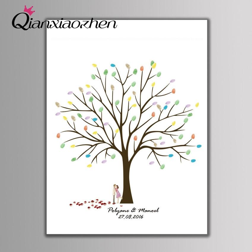 Qianxiaozhen-libro De visitas De Boda con huella dactilar, árbol personalizado, decoración De...
