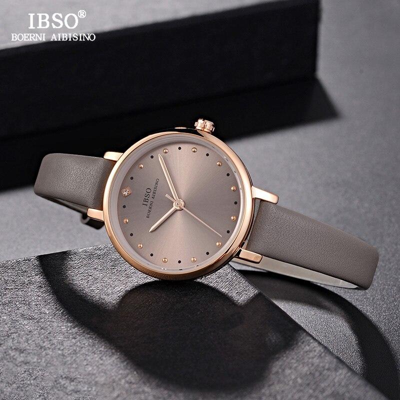 Ibso marca de luxo senhoras relógio de quartzo pulseira de couro montre femme moda feminina relógios de pulso relogio feminino
