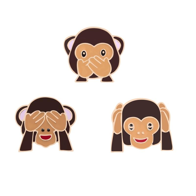 3 Pcs/Set Cartoon Brooches Cover Eye Mouth Monkey Enamel Pin Funny Kids Backpack Metal Badge Fashion Jackets Lapel Pins Jewelry