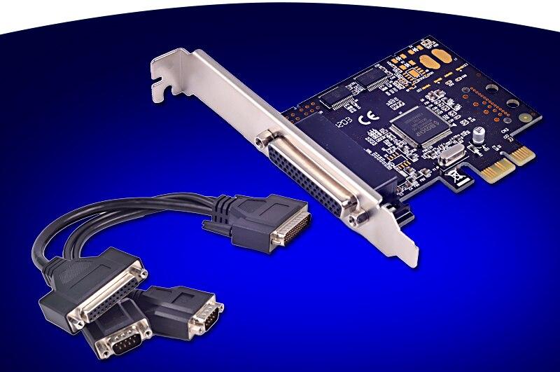 PCI-Express a 2 puertos serie RS-232 COM + 1 tarjeta de expansión LPT paralela MCS9901