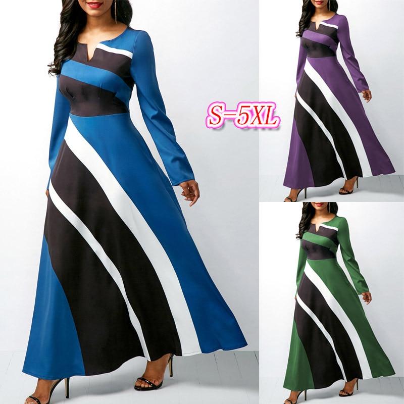 Vestido largo de manga larga de talla grande de belleza para mujer de estilo elegante a la moda de 2019 S-5XL