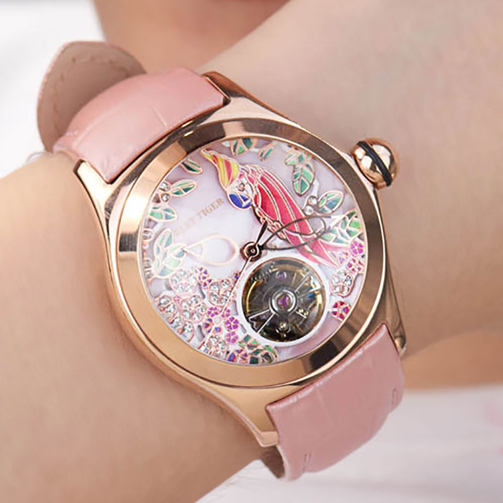 Reef Tiger Top Brand Luxury Women Watches Pink Dial Leather Strap Mechanical Watch Rose Gold Fashion Watch reloj mujer RGA7105 enlarge