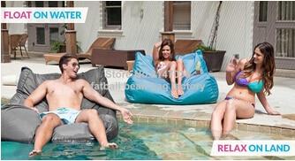 Relajarse en la tierra, flotar en el agua al aire libre 2 Función de silla de frijoles, muebles de exterior asiento puff sofá-Conjunto de silla externa gardne