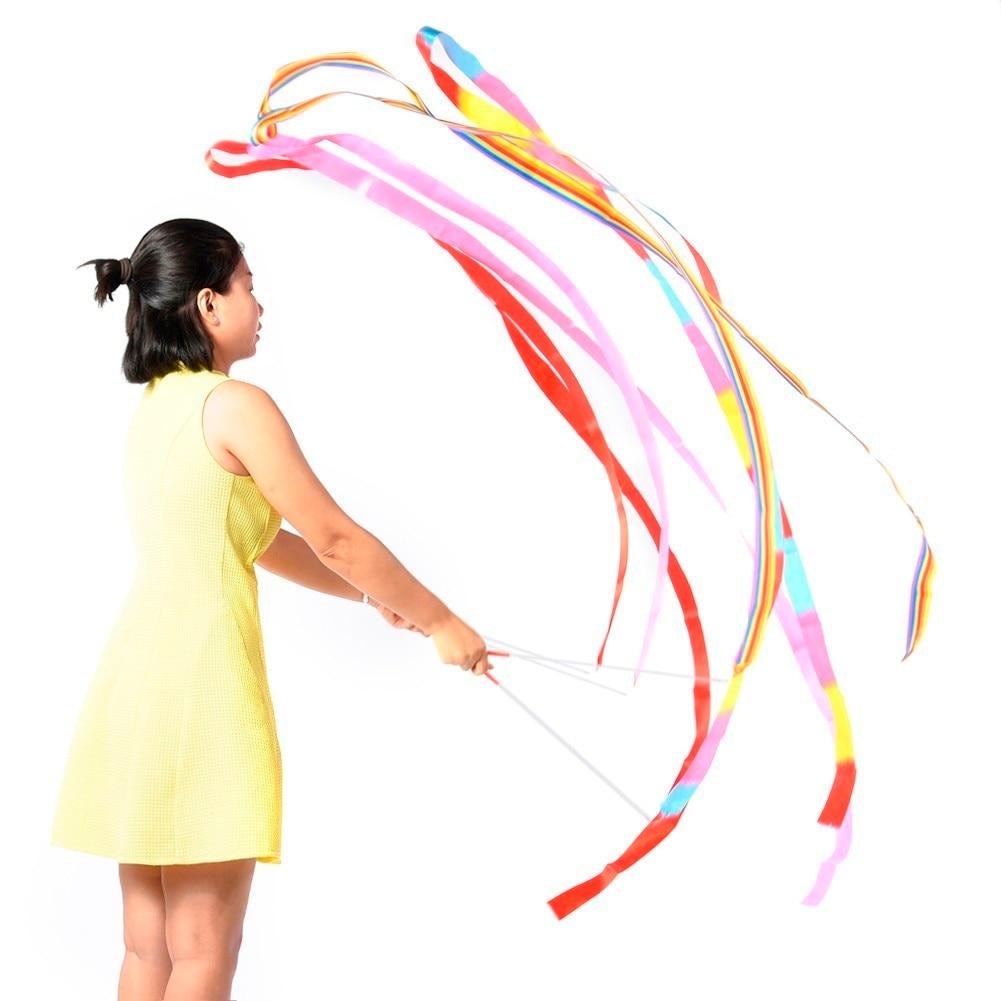 Newly Design Dance Ribbon 3.75M Eurhythmics Ribbons Gym Gymnastics Ribbons Rod Art Ballet Twirling Stick