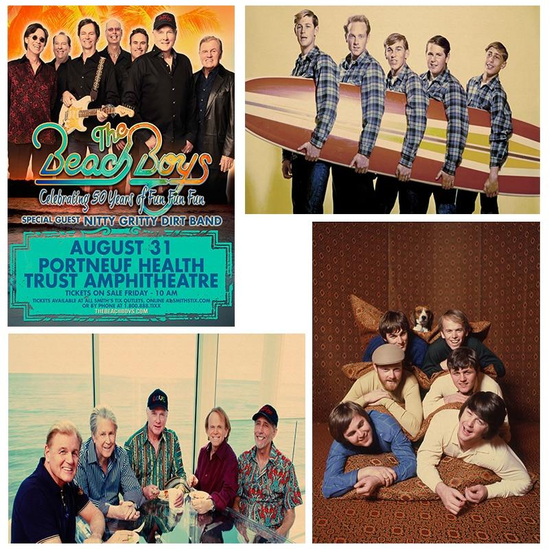 Vintage Posters The Beach Boys rock bank music poster música guitarra mate papel Kraft póster pared pegatina hogar Decoración