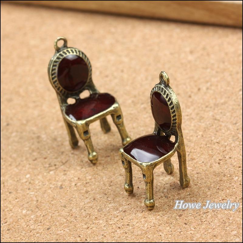 Esmalte 3 piezas de calidad de bronce antiguo marrón silla colgante aleación DIY moda encanto pulsera collar joyería Accesorios