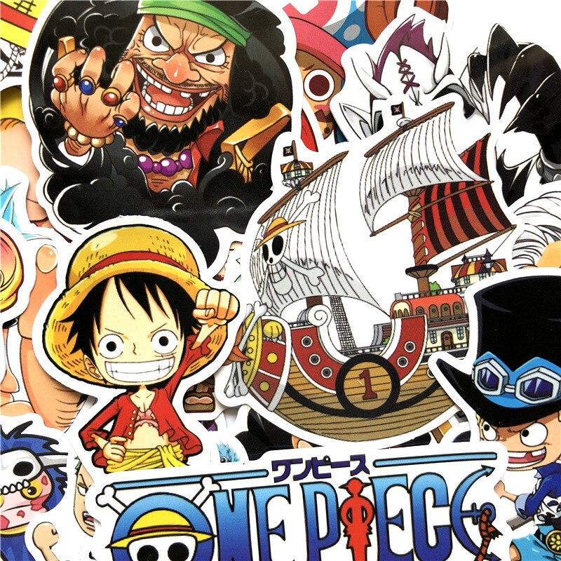 60 unids/lote, pegatina impermeable de una pieza, pegatinas de anime japonesas Luffy Nami Chopper Roronoa Zoro para coche, maleta para portátil, calcomanía para el hogar