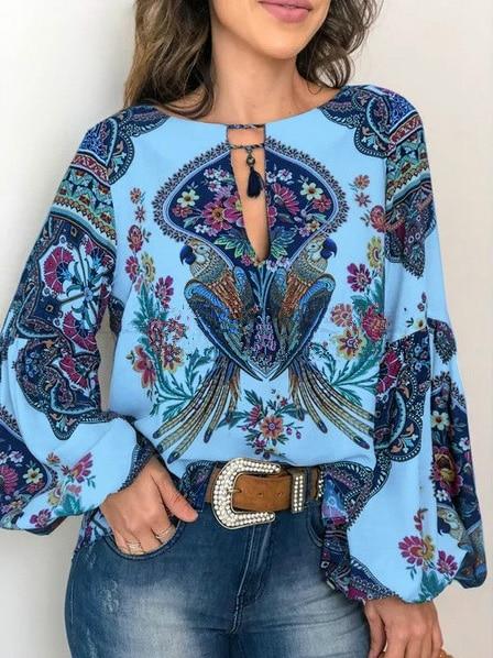 Baharcelin nuevo verano gran tamaño Vintage impreso blusa mujer chica manga lateral Camisas Mujer blusa Top ropa