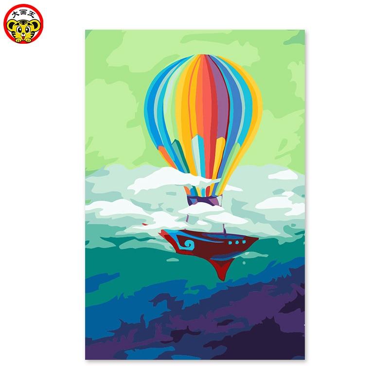 Pintura por números arte pintura por número de globo de aire caliente sueño de los niños de la escuela primaria regalo aprendizaje simple boceto color hacer