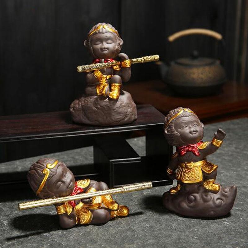 Decoración de cerámica Qitian Dasheng para el hogar, figuras en miniatura, adornos de Rey Mono, té de arcilla púrpura, suministro de regalo para Amiga