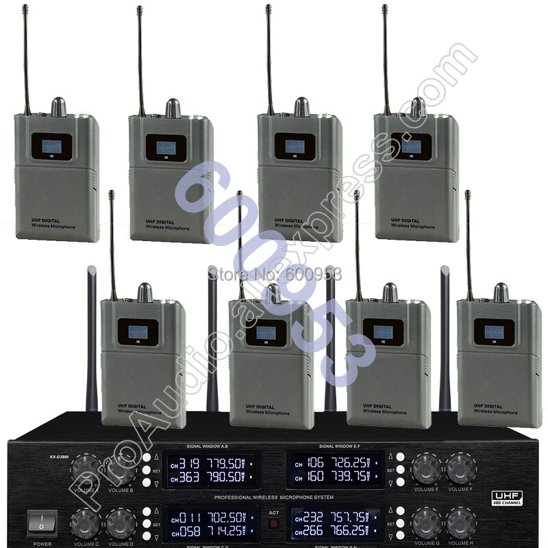 sydmic professional 4 channel wireless microphone system cordless karaoke system four lavalier mic s for stage show home party MICWL Wireless Radio Digital Microphone System -8 Beltpack 8 Lavalier Sets for Stage karaoke performance etc.