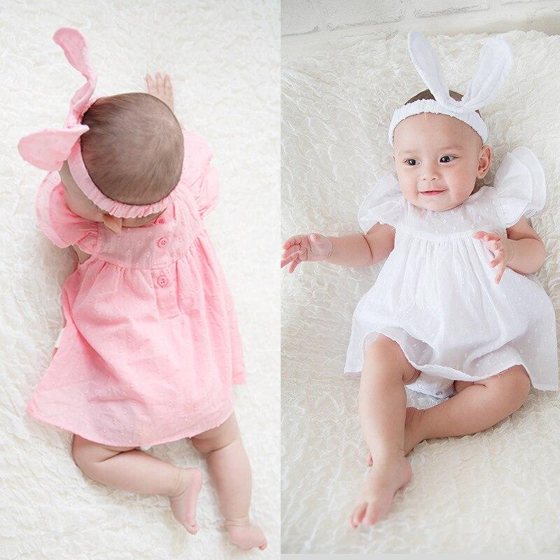1 set twins baby mädchen kleidung body + stirnband sommer geburtstag party Prinzessin kleid outfits baby taufe taufe kleid