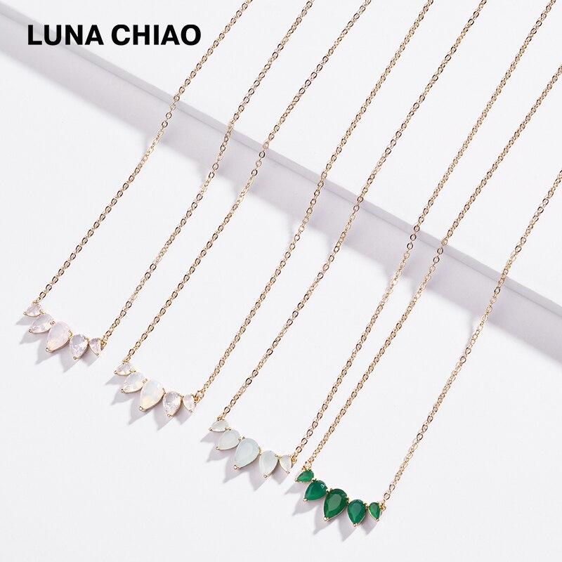Conjunto de garra de zirconia de Color Ópalo, Mini colgante de cobre y latón, collar y colgante de cadena corta, collares para mujeres