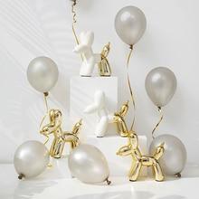 ceramic creative white Golden Balloon dog statue cute Balloon dog home decor crafts room decoration porcelain animal figurines