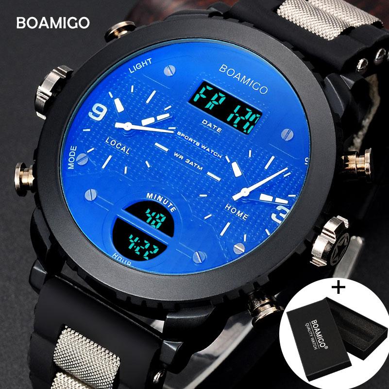 الرجال الساعات BOAMIGO العلامة التجارية 3 المنطقة الزمنية العسكرية الساعات الرياضية الذكور LED الرقمية الكوارتز المعصم هدية مربع relogio masculino