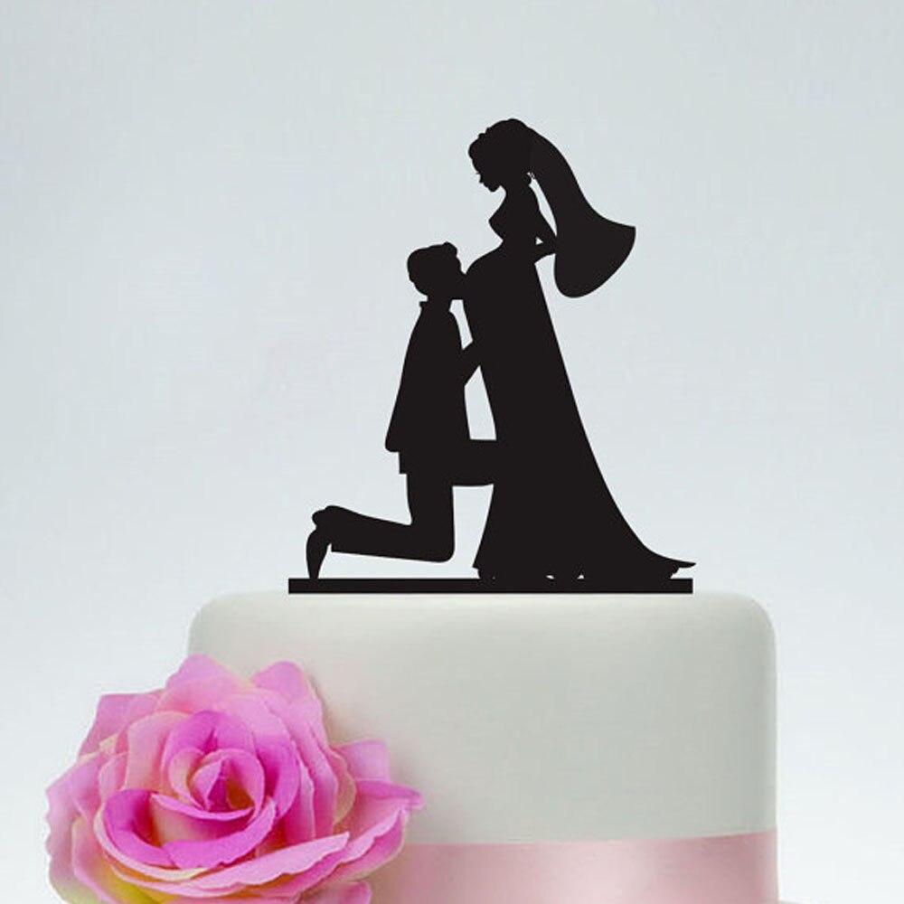 Topper do bolo do casamento da gravidez, topper do bolo da silhueta da noiva e do noivo, topper original feito sob encomenda do bolo de madeira de prata acrílica rústica