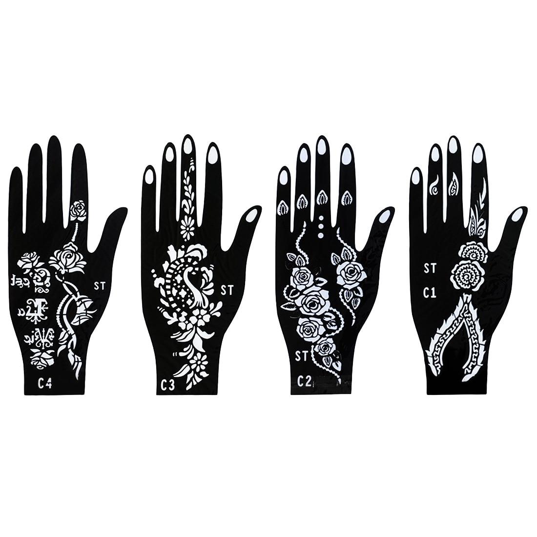 Henna Tattoo Palm Template India Nepal Bloem Kant Vinger Dek Schimmel Flash Spuitpistool Vrouwelijke Hand Verf Mehndi Tattoo Sjabloon