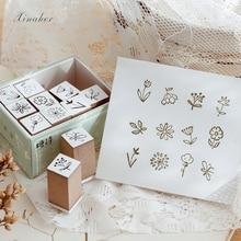 1set cute flower animal travel life decoration stamp wooden rubber stamps for scrapbooking stationery DIY craft standard stamp