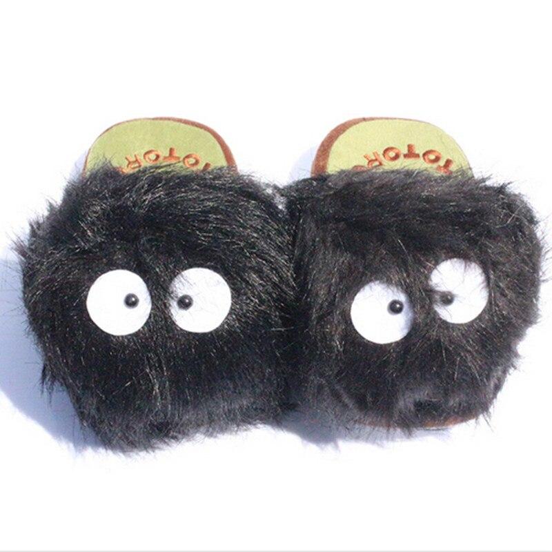1 par de muñecos de peluche de 11 pulgadas My Neighbor Totoro Ghibli Dust Bunny, pantuflas de Totoro BLACK totoro dust bunny