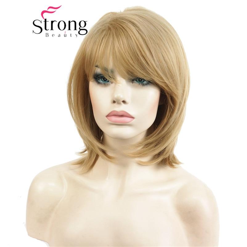 StrongBeauty corto Natural enderezar G rubia alto calor Ok peluca sintética completa pelucas de mujer