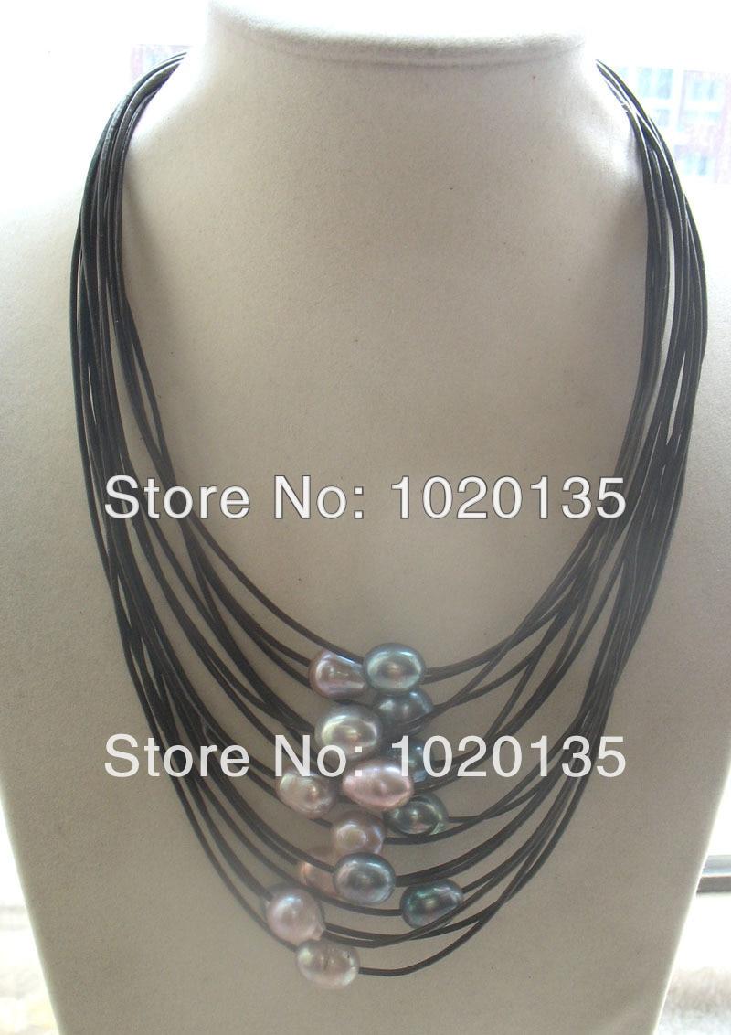 "15 filas de perlas de agua dulce de huevo mix-color 17-24 ""collar naturaleza negro perlas línea"