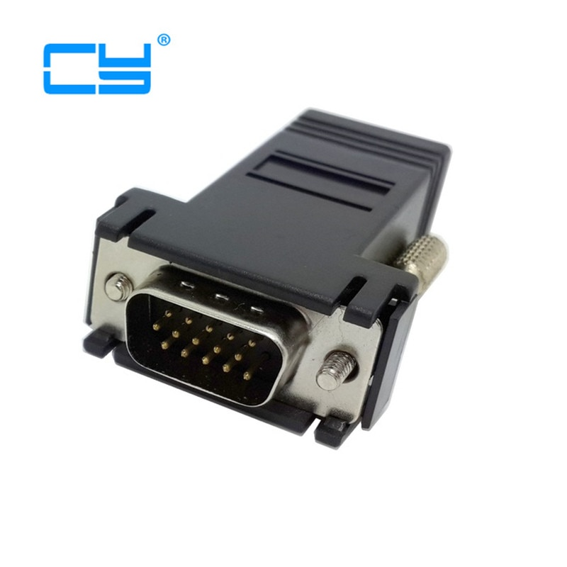 VGA RGB 15pin alargador masculino a Lan Cat5 Cat5e RJ45 adaptador Ethernet hembra negro