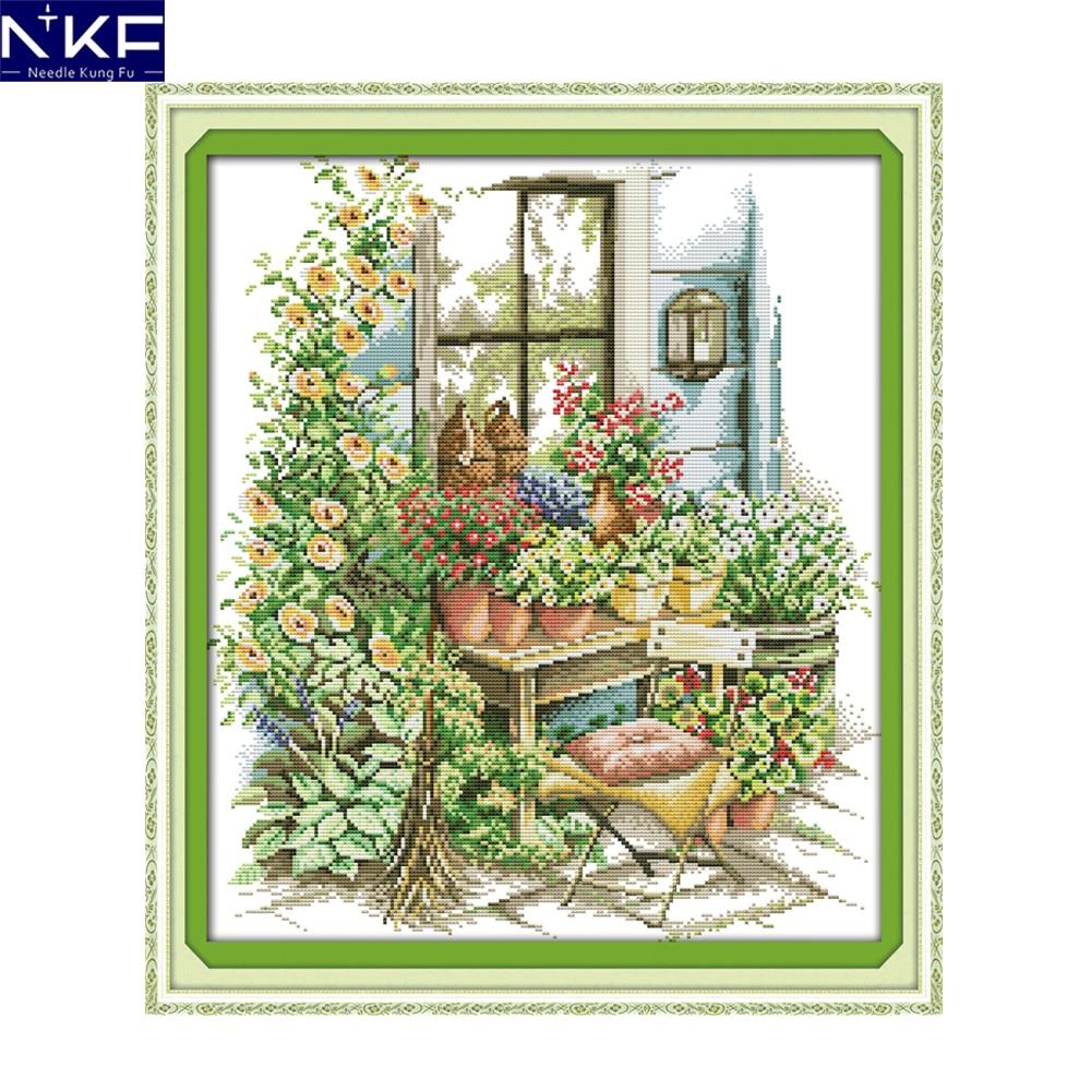 La NKF Jardín de primavera paisaje estilo de bordado de Navidad Kit de almacenamiento estampado Cruz juegos de bordado para la decoración de la casa