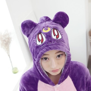 Purple Moon Cat Animal Cosplay Costume Onesie Hoodie For Adult Women Men Halloween Holiday Party Flannel Full Length