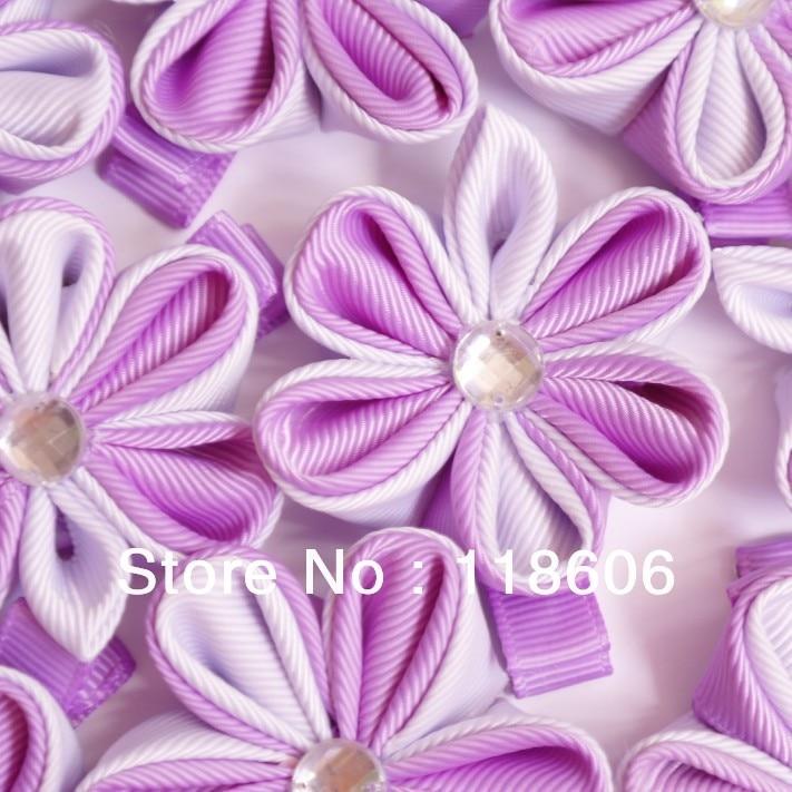 DHL Free Shipping Ribbon Flower Japanese Tsumami  Kanzashi Hair Ornament with Reinstone 100% Handmade in China
