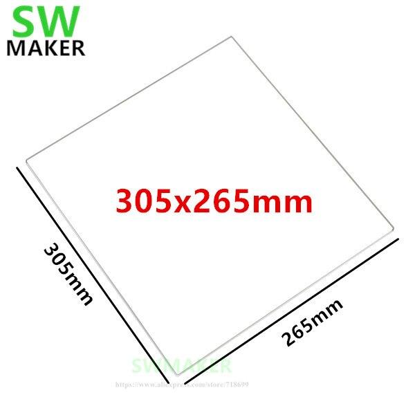 1 Uds 305x265x3mm 305x265x4mm placa de vidrio de borosilicato/cama plana para Flashforge Guider II/2 S/IIS piezas de impresora 3D