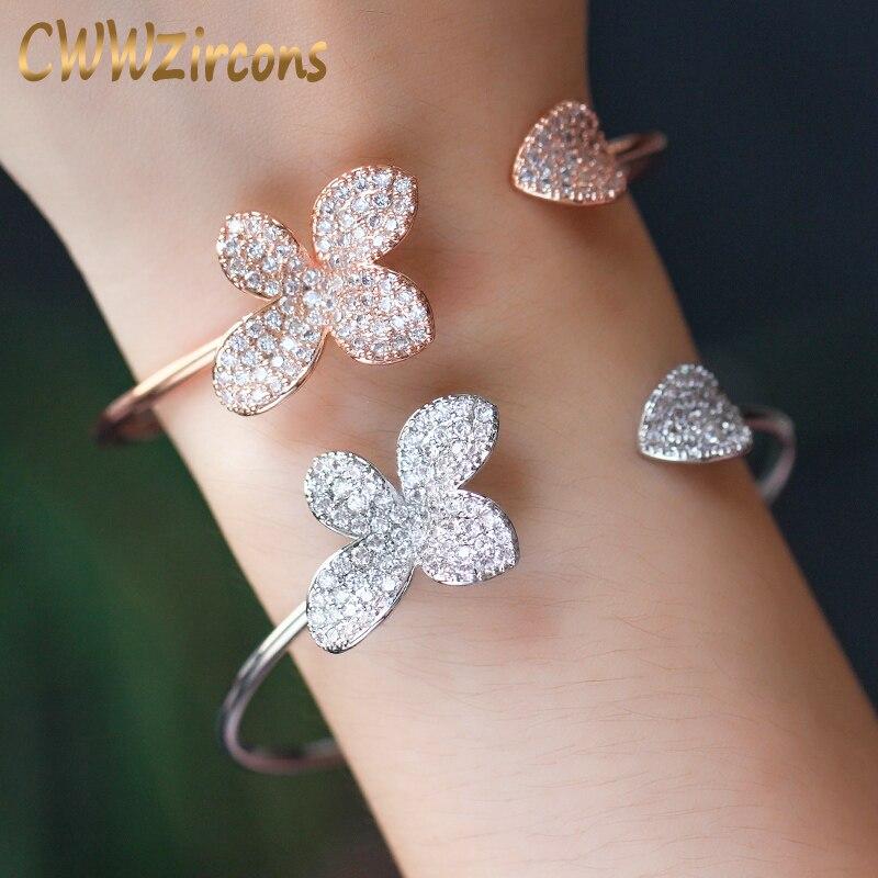 CWWZircons, tamaño ajustable, marca de moda, brazalete abierto de oro rosa, brazalete de flores de cristal CZ, joyería para regalo de mujer BG013
