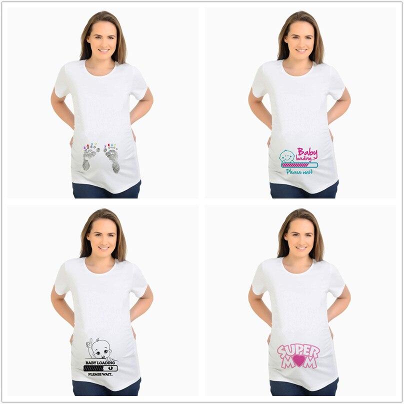 Camiseta de maternidad, camisetas de verano, camisetas divertidas de diseñador, camisetas con estampado de letras mata moscas y carga para mujer, camiseta informal de algodón de talla grande