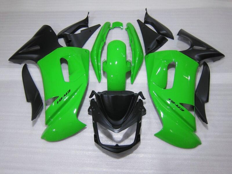 Kit de carenado personalizado gratis para Kawasaki Ninja 650R 06 07 08 Verde Negro carenados set 650r 2006 2007 2008 OW04