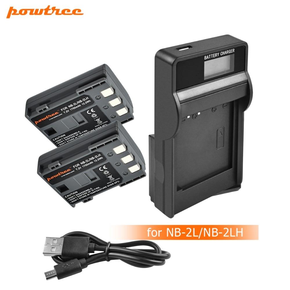 2 uds NB-2L NB 2L NB2L NB 2LH NB-2LH Cámara Li-Ion batería + cargador USB con LCD para Canon DC310 DC320 DC330 DC410 DC420 HV20 HG1 L20