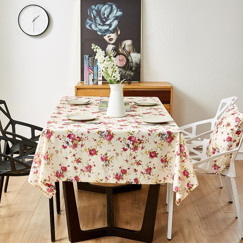 Mantel de Mesa decorativo, mantel Rectangular, cubierta de Mesa de comedor, manteles de Mesa Pastoral, estampado de flores, accesorios de Mesa, regalo