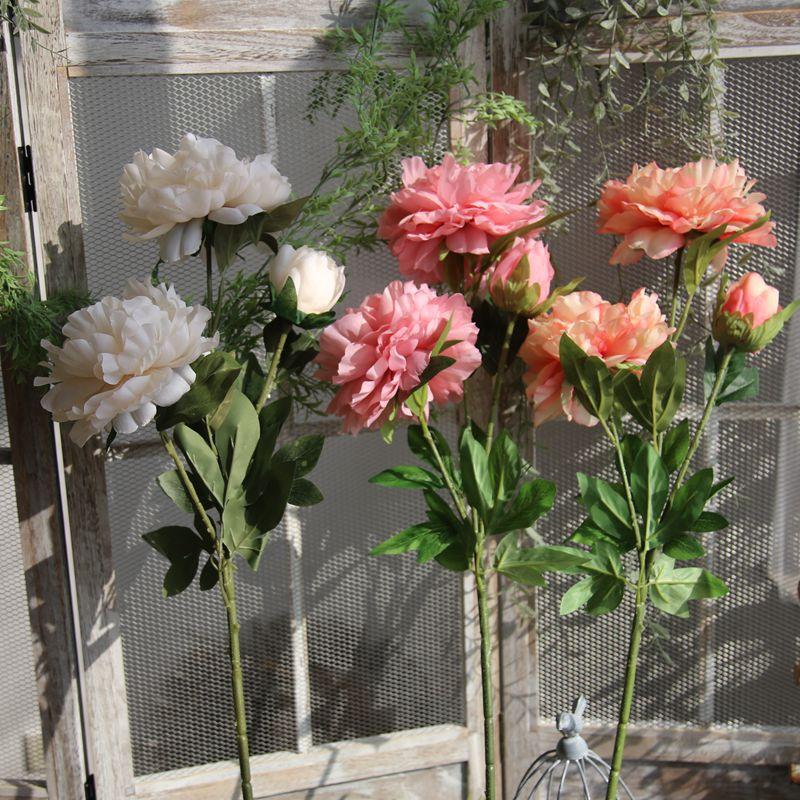Flor Artificial 90CM 3 cabezas peonía para casa decoración para fiesta de boda DIY Pared de flores accesorios fotografía apoyos de fotografía de flores de seda