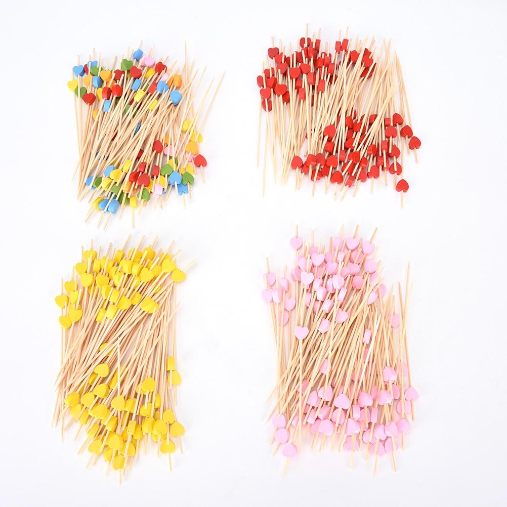 Palillos para comida de bambú con forma de corazón 100pzs 12cm para bufé, magdalenas y frutas, tenedor para fiesta, postre, ensalada, palitos para vegetales, cóctel, palillos, brochetas