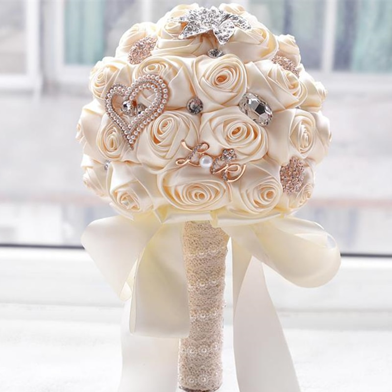 Hot artificial wedding bouquets hand made flower crystal bridal wedding bouquets for wedding decoration