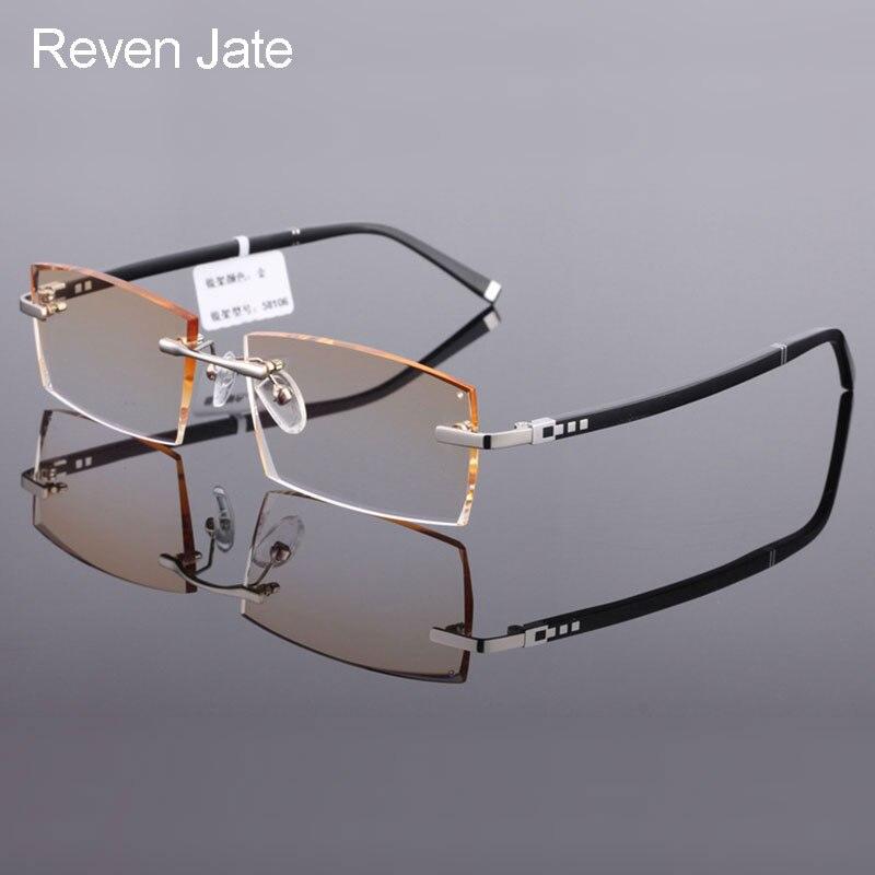 نظارات طبية Reven Jate للرجال, نظارات طبية من التيتانيوم الخالص 58106 بدون إطار لقطع الماس
