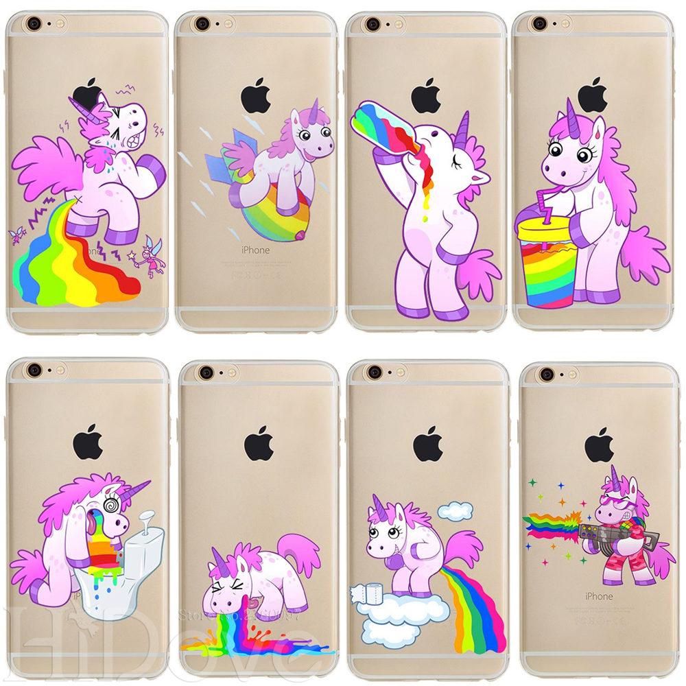 Para iPhone 11 Pro XS Max XR 4 4S 5 5S 5C SE 6 6S 7 7 Plus X bonito unicornio arcoíris TPU caso suave Fundas funda de silicona del teléfono