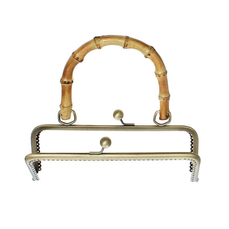 Armação de Metal Fechos de Bloqueio Cabo de Madeira de Bambu Bronze Beijo Retângulo Bolsa 20×18.5 cm 30 Pcs Tom