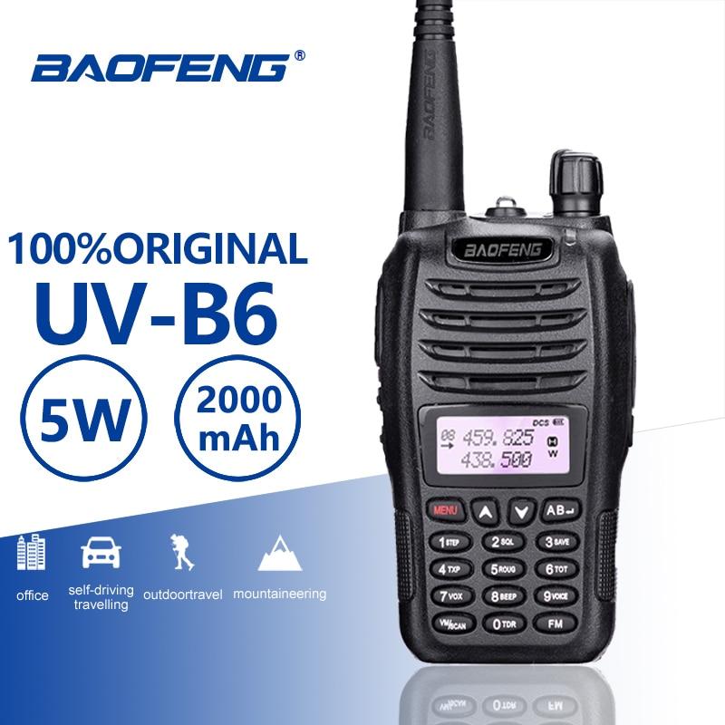 BaoFeng UV-B6 Portable Walkie Talkie 5W Long Range Two Way Radio Dual Band UHF VHF Interphone B6 Woki Toki FM Radio Transceiver