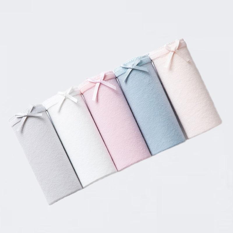 5 unids/lote sensuales braguitas de mujer de algodón cómodo transpirable ropa interior briefs para mujer sin costuras lazo simple bragas de cintura baja