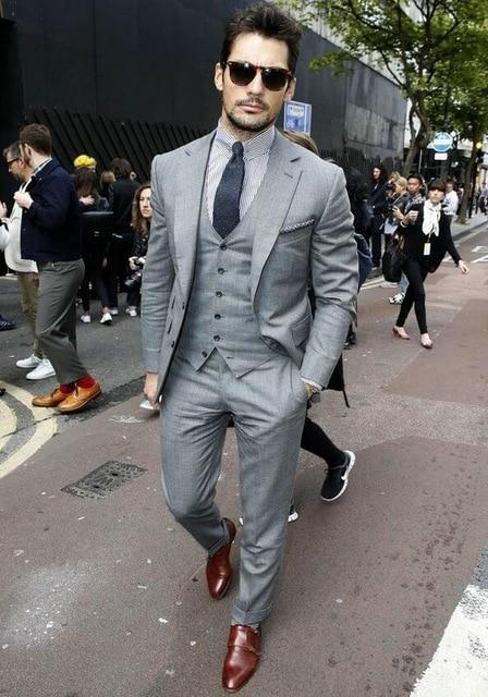 Trajes a medida para hombre gris 2019, trajes de negocios de corte delgado para hombre, mejores trajes de padrino Terno Masculino para boda