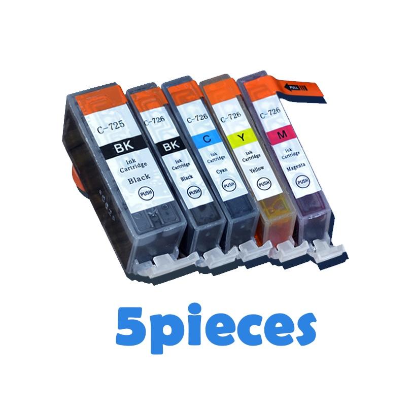 5 piezas PGI725 CLI726 cartuchos de tinta para canon PGI 725 CLI 726 IP4870 IP4970 IX6560 MG5170 MG5270 MG5370 MG6170 MG6270 impresoras