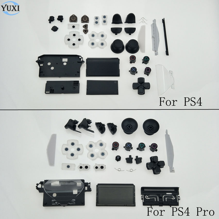 YuXi Volle gehäuse Leitfähigen kleber & D-Pad Kreis Quadrat Dreieck X Taste set Für Sony Playstation 4 PS4 pro Controller