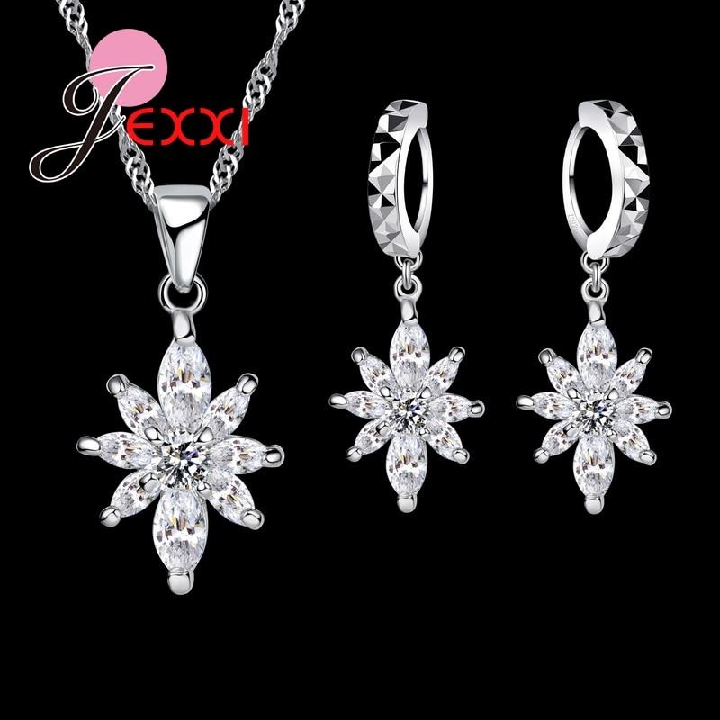 925 Sterling Silver Wholesale Beautfiful Flower Crystal CZ Shiny Romantic Women's Jewelry Sets Necklace Dangle Earrings