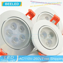 Aluminium 110 V 220 V dimmer Dimmbare led-lampe 3 Watt 5 Watt 7 Watt Freies verschiffen lichter Vertiefte geführte deckenleuchte LED strahler weiß körper
