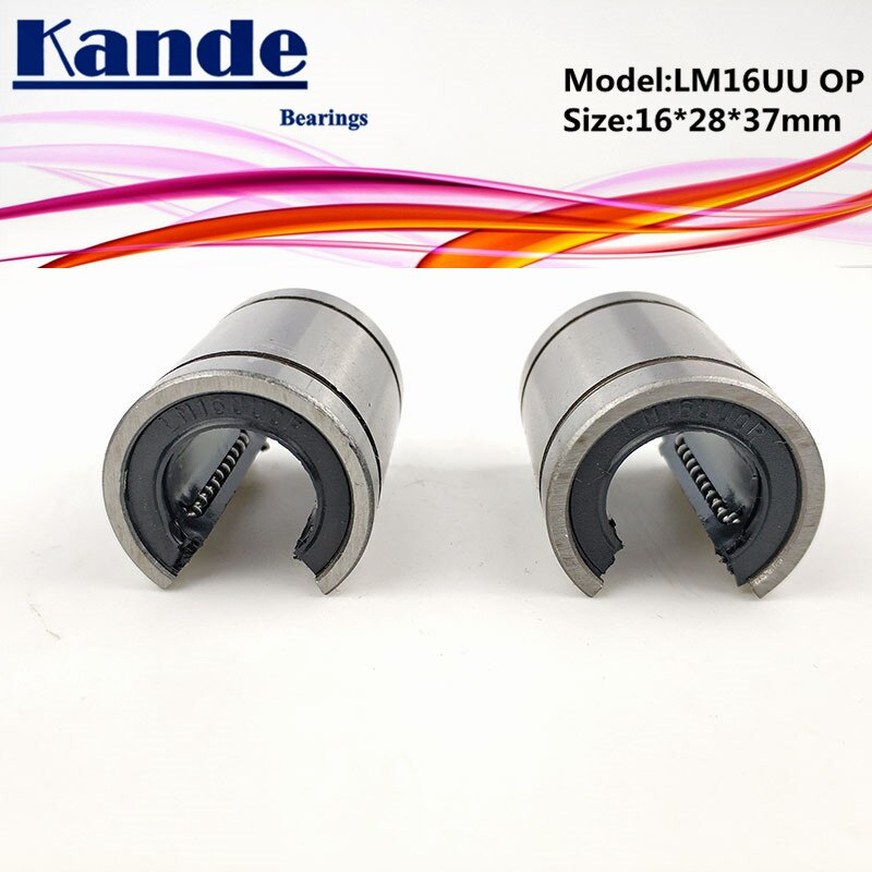 Rolamentos de kande 2 peças lm16op lm16uuop lm16uu op rolamentos lineares tipo aberto cnc bucha linear lm16op 16*28*37mm