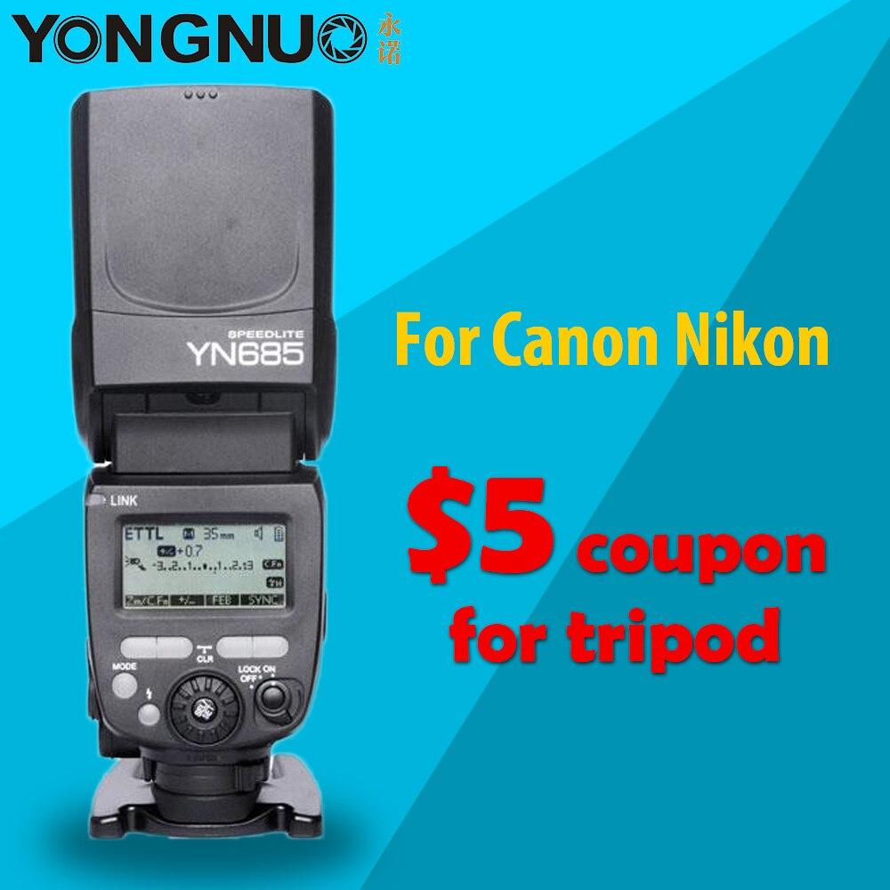 Беспроводная вспышка YONGNUO YN685, 2,4G HSS, TTL/iTTL для Canon Nikon, поддержка YN560IV, YN560-TX, RF605, RF603 II, YN685C, YN685N